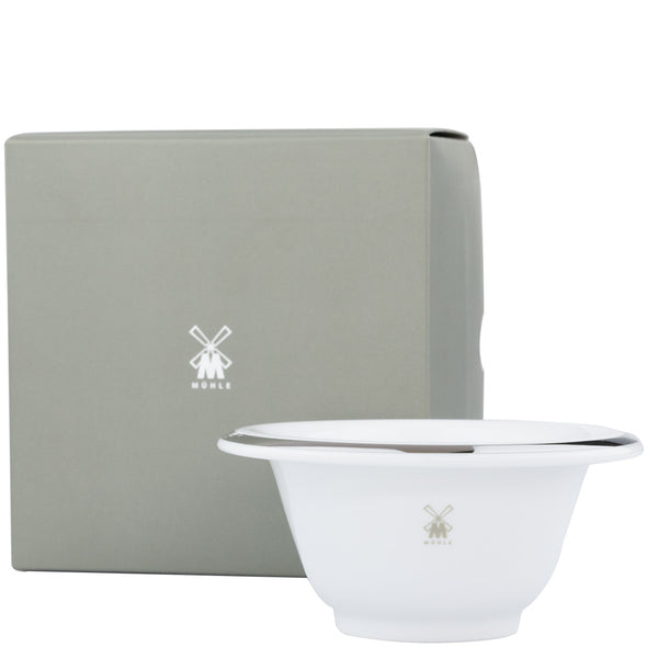 Muhle Shaving Bowl White & Silver with Box