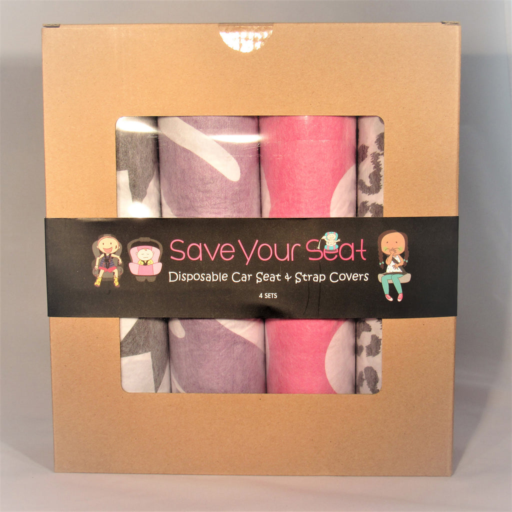 Save Your Seat Disposable Seat & Strap Covers Girl/4-Pack