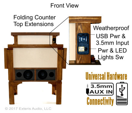 Exteris Audio Audio+Bar™ Outdoor Stereo & Drink Bar