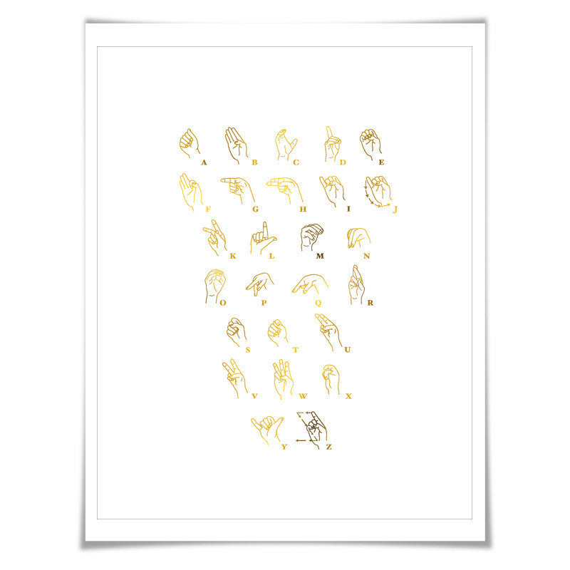 American Sign Language Gold Foil Art Print. 7 Foil Colours. ASL Poster Chart. Deaf Education. Hearing Impaired