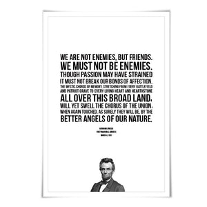 Abraham Lincoln Presidential Inaugural Speech Art Print. 5 Sizes. Better Angels of our Nature. American History