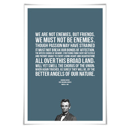 Abraham Lincoln Presidential Inaugural Speech Art Print. 60 Colours/5 Sizes. Better Angels of our Nature. American History