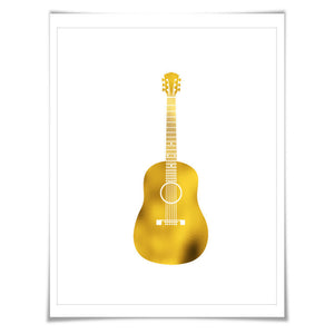 Acoustic Guitar Gold Foil Art Print. 7 Foil Colours/3 Sizes. Musical Poster Gift for Musician Classical Music Decor Art