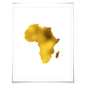 Africa Map Gold Foil Art Print. 7 Foil Colours/3 Sizes. Travel Poster. Country Map Wall Art
