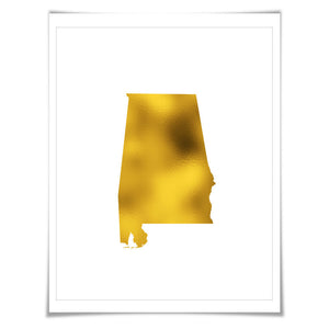 Alabama State Map Gold Foil Art Print. 7 Foil Colours/3 Sizes. Travel Poster. USA Map Wall Art