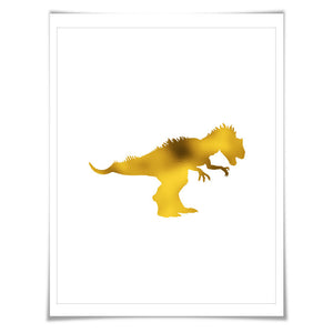 Allosaurus Dinosaur Gold Foil Art Print. 7 Foil Colours/3 Sizes. Animal Poster Dinosaurs Prehistoric Nursery Kids Art