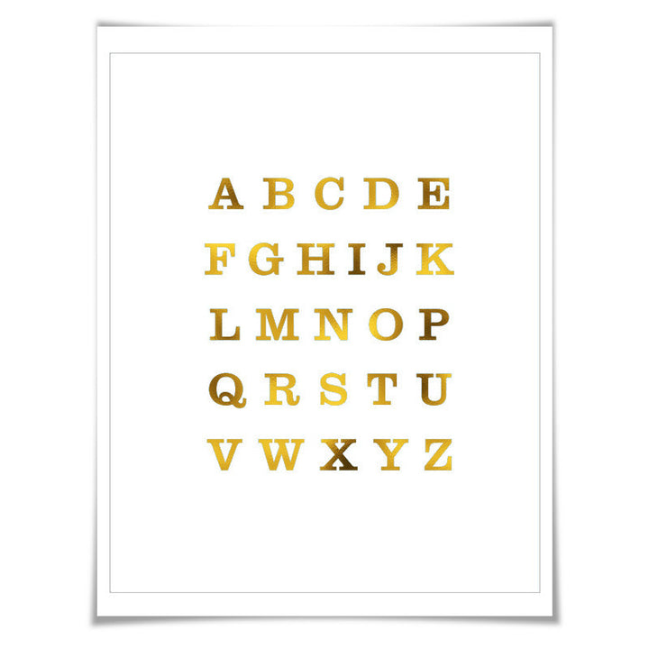 Alphabet Gold Foil Art Print. 7 Foil Colours/3 Sizes. Nursery Art, Classroom Poster, Letters ABCs Baby Gift