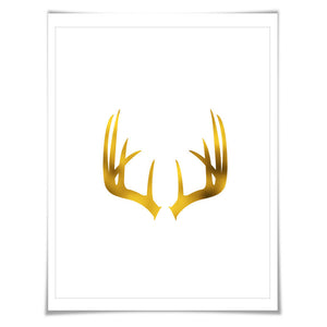 Deer Antlers Gold Foil Nursery Art Print. 7 Foil Colours. 3 Sizes. Animal Print, Wildlife Art.