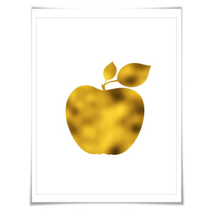 Apple Gold Foil Art Print. 7 Foil Colours/3 Sizes. Fruit Wall Art, Kitchen Poster Food Cooking Chef Cook
