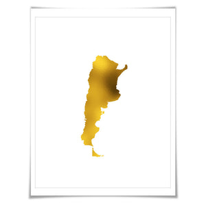 Argentina Map Gold Foil Art Print. 7 Foil Colours/3 Sizes. Travel Poster. Country Map Wall Art