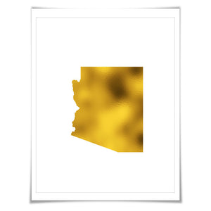 Arizona State Map Gold Foil Art Print. 7 Foil Colours/3 Sizes. Travel Poster. USA Map Wall Art