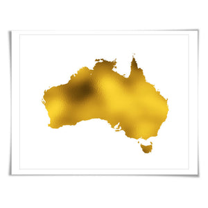 Australia Map Gold Foil Art Print. 7 Foil Colours/3 Sizes. Travel Poster. Country Map Wall Art