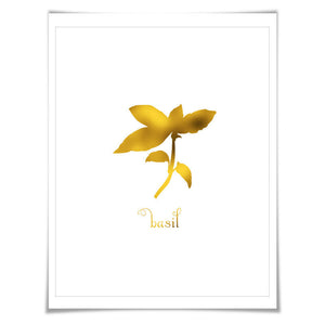 Basil Gold Foil Art Print. 7 Foil Colours/3 Sizes. Spice Herb Wall Art, Kitchen Poster Cooking Food Chef Cook