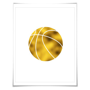 Basketball Gold Foil Art Print. 7 Foil Colours/3 Sizes. Gift for Athlete Sports Poster Court Sport Player Nursery