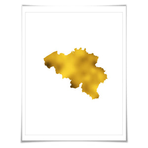 Belgium Map Gold Foil Art Print. 7 Foil Colours/3 Sizes. Travel Poster. Country Map Wall Art