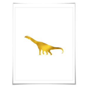 Brachiosaurus Dinosaur Gold Foil Art Print. 7 Foil Colours/3 Sizes. Animal Poster Dinosaurs Prehistoric Nursery Kids Art