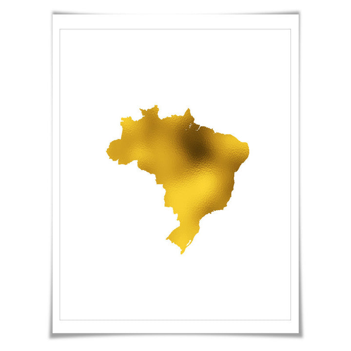 Brazil Map Gold Foil Art Print. 7 Foil Colours/3 Sizes. Travel Poster. Country Map Wall Art