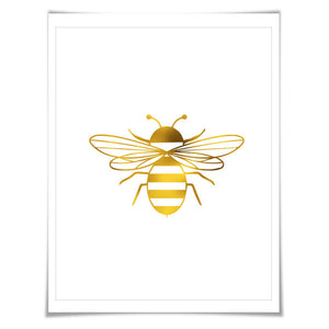 Bumblebee Gold Foil Art Print. 7 Foil Colours/3 Sizes. Bumblebee Poster, Nursery Art Print, Insect Animal