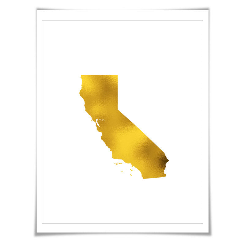 California State Map Gold Foil Art Print. 7 Foil Colours/3 Sizes. Travel Poster. USA Map Wall Art