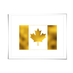 Canadian Maple Leaf Flag Gold Foil Art Print. 7 Foil Colours/3 Sizes. Canada Travel Poster. Country Flag Wall Art