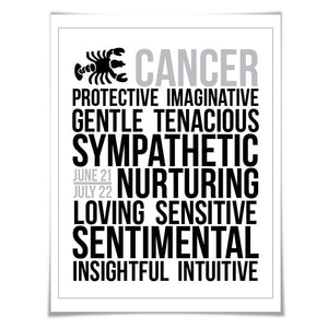 Cancer Personality Character Traits Art Print. 60 Colours/5 Sizes. Astrology Zodiac Horoscope