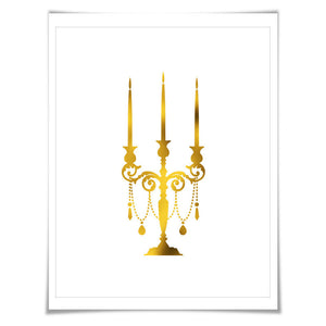 Candelabra Gold Foil Art Print. 7 Foil Colours/3 Sizes. Kitchen Poster Chef Cook Gift Dining Room Decor Gold Candle