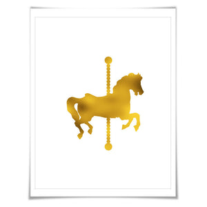 Carousel Horse Gold Foil Nursery Art Print. 7 Foil Colours/3 Sizes. Farm Animal Print, Horse Poster
