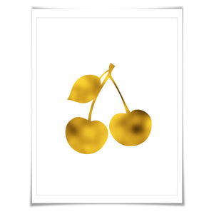 Cherries Gold Foil Art Print. 7 Foil Colours/3 Sizes. Fruit Wall Art, Kitchen Poster Food Cooking Chef Cook