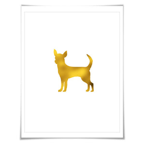 Chihuahua Gold Foil Nursery Art Print. 7 Foil Colours. 3 Sizes. Animal Print, Dog Poster.