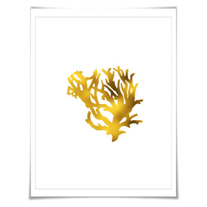 Coral 1 Gold Foil Art Print. 7 Foil Colours/3 Sizes. Sea life Poster Maritime Ocean Decor Nature Poster Beach Wall Art