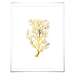 Coral 2 Gold Foil Art Print. 7 Foil Colours/3 Sizes. Sea life Poster Maritime Ocean Decor Nature Poster Beach Wall Art