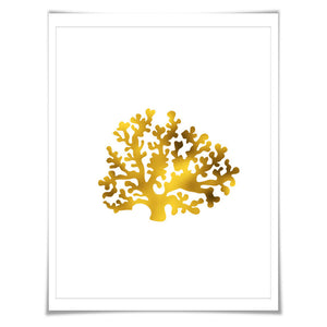 Coral 4 Gold Foil Art Print. 7 Foil Colours/3 Sizes. Sea life Poster Maritime Ocean Decor Nature Poster Beach Wall Art