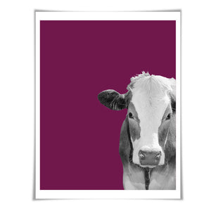 Cow Art Print. 6 Sizes/60 Colours. Cow Photo. Nursery Wall Art. Barnyard Poster. Farm Animal Art