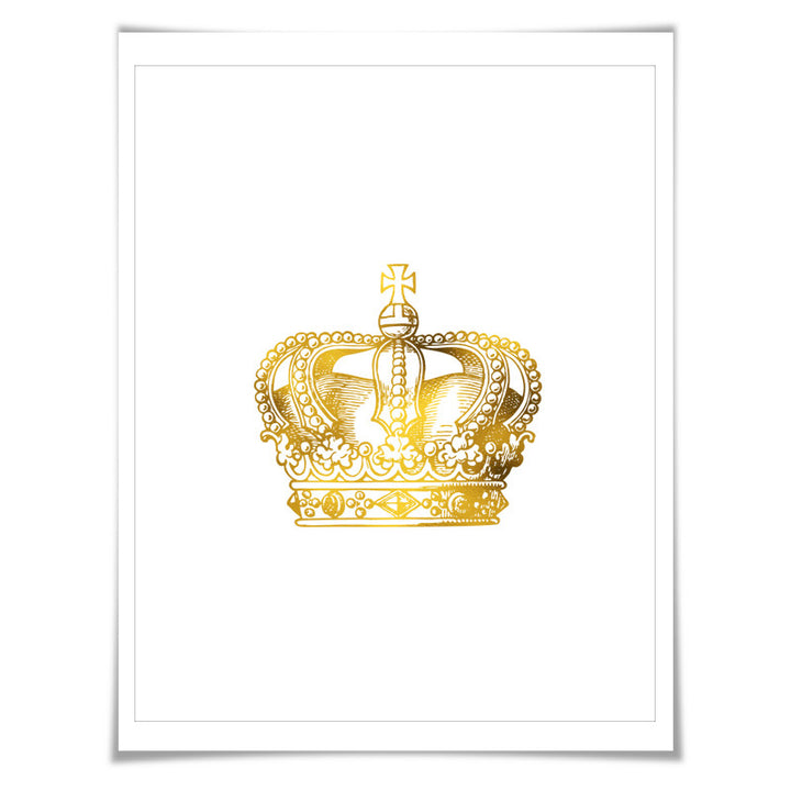 Vintage Crown Gold Foil Art Print. 7 Foil Colours/3 Sizes. Royal ...
