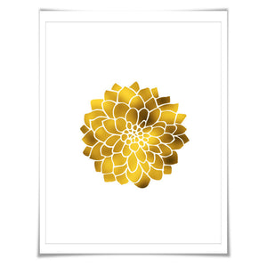 Dahlia Flower Gold Foil Art Print. 7 Foil Colours. 3 Sizes. Floral Art. Nature Poster. Foil Flower Print