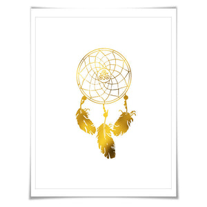 Dreamcatcher Gold Foil Art Print. 7 Foil Colours/3 Sizes. Nursery Bedroom Poster Native American Tribal Inspirational