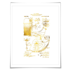 Drum Cymbal Gold Foil Patent Illustration. 7 Foil Colours. Music Poster. Drummer Musician