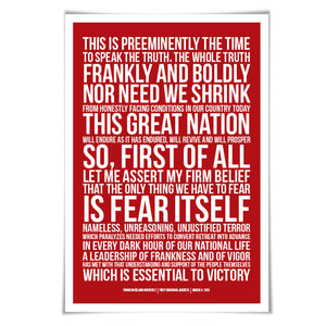 Franklin Delano Roosevelt FDR Presidential Inaugural Speech. 60 Colours/3 Sizes. American History Poster.