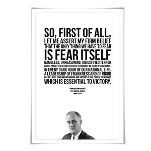 Franklin Delano Roosevelt FDR Presidential Inaugural Speech. 5 Sizes. American History Poster.