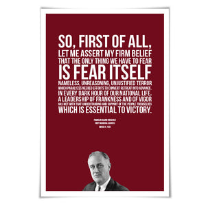 Franklin Delano Roosevelt FDR Presidential Inaugural Speech Art Print. 60 Colours/5 Sizes. American History Poster