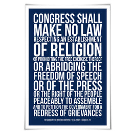 First Amendment US Constitution Bill of Rights Art Print. 60 Colours/4 Sizes. Freedom of Speech. Free Press