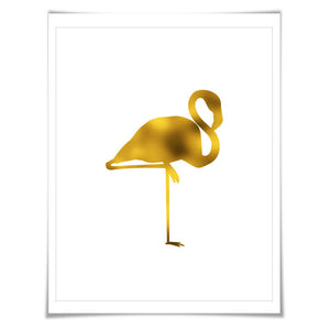 Flamingo Gold Foil Nursery Art Print. 7 Foil Colours. 3 Sizes. Animal Print. Bird Art Print