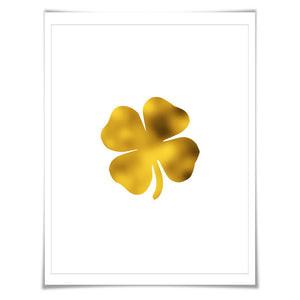 Four Leaf Clover Gold Foil Art Print. 7 Foil Colours/3 Sizes. Nature Poster Irish Symbol St. Patrick's Day Shamrock
