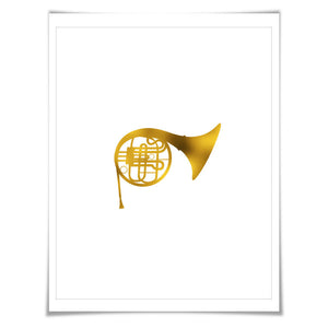 French Horn Gold Foil Art Print. 7 Foil Colours/3 Sizes. Musical Poster Gift for Musician Classical Music Decor Art