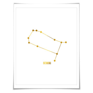 Gemini Constellation Astrology Gold Foil Art Print. 7 Foil Colours/3 Sizes. Zodiac Stars Poster