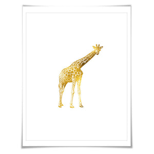 Giraffe Gold Foil Art Print. 7 Foil Colours/3 Sizes. Animal Poster, Wildlife Art, Gold Nursery Art.