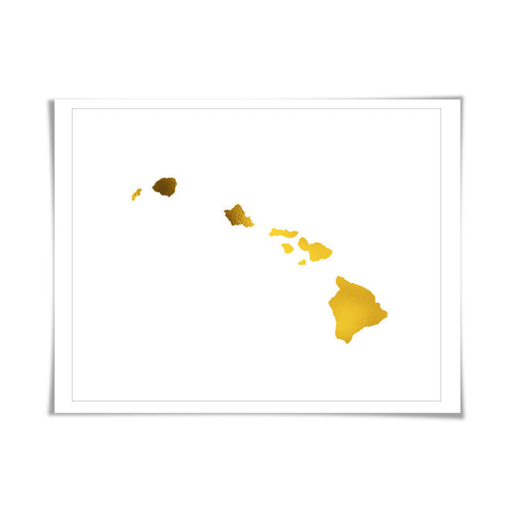 Hawaii State Map Gold Foil Art Print. 7 Foil Colours/3 Sizes. Travel Poster. USA Map Wall Art