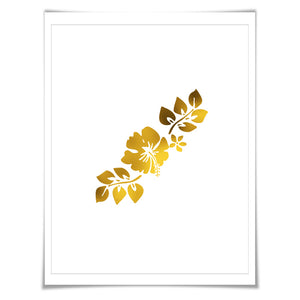 Hibiscus Flower Gold Foil Art Print. 7 Foil Colours. 3 Sizes. Floral Art. Hawaiian Poster. Tropical Decor.