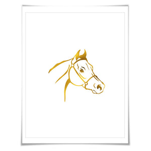 Horse Gold Foil Nursery Art Print. 7 Foil Colours. 3 Sizes. Farm Animal Print