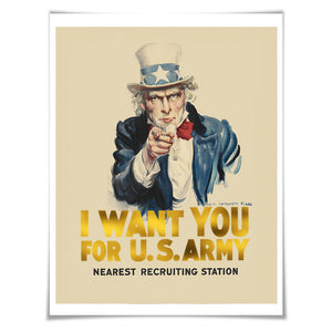 I Want You US Army Poster Gold Foil Art Print. Vintage War Poster Uncle Sam Recruitment History WWI Propaganda